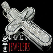 Real White Gold Sterling Silver Lab Diamond Jesus Crucifix Cross Pendant Charm