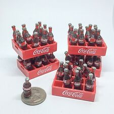 COCA COLA 120 BOTTLE MINIATURE COKE 10 CRATES DOLLHOUSE PLASTIC MINI VINTAGE 2