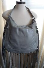 Ralph Lauren Fleetwood Hobo Graphite/Gray Leather Fringe NEW