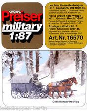 Preiser 16570: Leichter Heeresfeldwagen Hf.1 bespannt Wehrmacht WK 2, 1:87 [G]