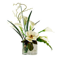 FLOWER ARRANGEMENTS - MAGNOLIA & CALLA LILY BOUQUET - SILK FLORAL ARRANGEMENT