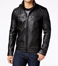 MICHAEL KORS MENS Perforated Faux-Leather Jacket SZ XLARGE Black NEW