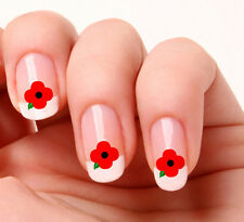 20 Autocollants art transferts pour ongles # 501 - poppy day endos adhésif