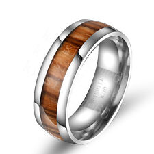 Titanium Steel Men's Light Wood Grain Comfort Fit Band Ring SZ 6 7 8 9 10 11 12