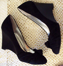 BCBG Paris Black Suede Shoes size 8B/38 Knot accent Stacked Look High Heel Wedge
