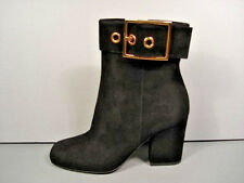 GUCCI CLASSIC BLACK SUEDE GOLD BUCKLE ANKLE BOOT BOOTIES ROUND TOE SHOE 35.5 NEW
