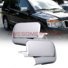 Triple Chrome Rearview Door Mirror Cover Pair For 04-15 Nissan Armada Titan AM