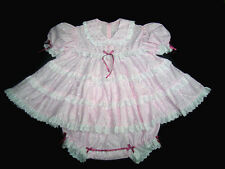 DreamyBB ~ ADULT SISSY PINK EYELET BABY TEA DRESS SET snap crotch