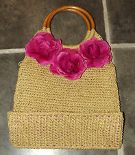 LADIES STRAW ( 100% PAPER ! ) HANDBAG WITH FUCHSIA FLOWERS & WOODEN HANDLES
