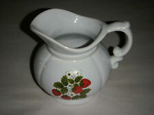 "VINTAGE MC COY 5.25"" DARLING WHITE PITCHER 325 STRAWBERRYS & BLOOMS ART POTTERY"