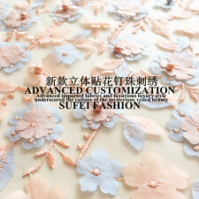 Customized Exquisite Embroidery Beads Mesh Wedding Dress Lace Fabric 51Wide/Yd