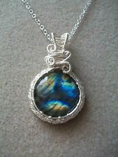 Silver Plated Wire Wrapped Genuine Labradorite Cab Gemstone  Pendant Necklace