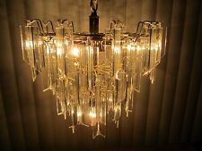 Vtg chandelier Lucite acrylic ceiling fixture 3 tier birthday cake 46 prisms