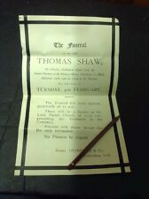 Old Staffordshire Document Leek, Thomas Shaw Funeral Notice Overfield Undertaker