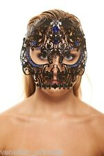 Day of The Dead Black Skull Venetian Laser Cut Masquerade Mask w/ Blue Stones