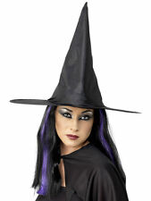 Adult plain black witch hat fancydress costume accessory
