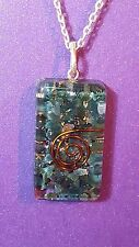 "ORGONE Pendant Necklace Shaped Blood Stone Reiki Pendant on an 18"" Chain  m4"