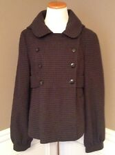 Topshop 12 Purple/Gray/black Plaid Hooded Short Wool Blend Peacoat Jacket