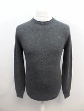 Mens Rye Merino Donegal Crew Neck Charcoal XS box5733 E