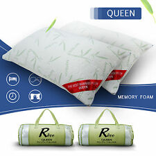 Bamboo Memory Foam Bed Pillow 2 Pack Queen Size Hypoallergenic Carry Bag