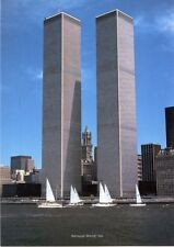 WORLD TRADE CENTER Twin Towers Sail Boat 9/11 Postcard NYC NY Hudson River 1981