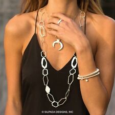 """Silpada Textured and Polished Sterling Silver Geometric Link Necklace 36"""" Length"""