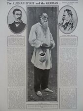 1914 TOLSTOY, TREITSCHKE & NIETZSCHE, SPIRIT OF RUSSIANS AND GERMANS WW1 WWI