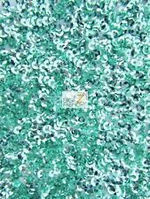 SCALE SEAWEED SEQUINS MESH FABRIC - Mint - BY THE YARD SHINY DRESS DECOR