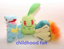 "Starter Pokemon Plush Toys Lot Of 6""~7"" Chikorita Cyndaquil Totodile New Dolls"