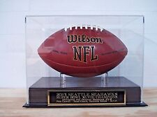 Football Display Case With A Seahawks Super Bowl 48 Champions Engraved Nameplate