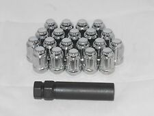 12 X 1.5 CHROME TUNER SPLINE LOCK WHEEL RIM LUG NUT SET OF (20) & (1) KEY ACORN