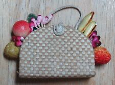 Barbie Straw Tote Purse With Fruits