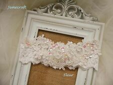 WEDDING GARTER 'FLEUR' IVORY LACE VINTAGE CRYSTAL BEADED PEARL BRIDAL GIFT