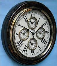 "Wall Clock World Time 16"" Brass & Wood 5Zone Time Roman"