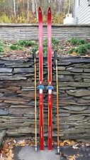 """VINTAGE HICKORY Wooden 75"""" Skis Has RED Finish ELITE + Bamboo Poles"""