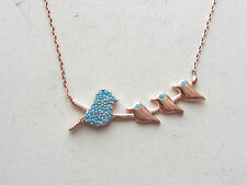 TURKISH ROSE 925K STERLING SILVER TURQUOISE CHAIN LUCKY NECKLACE WITH BIRDS