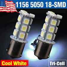 2 X Car RV Cool White 1156 BA15S 18-SMD 5050 Turn Signal Reverse LED Light bulbs
