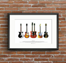Jimmy Page's Guitars - Five Guitars ART POSTER A2 size