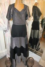 Marisa Black silver maxi dress - Ditsy Vintage - Size 10 - 1970s does 30s style