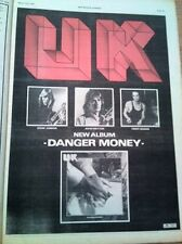 UK (BOZZIO, WHETTON,JOBSON) Danger Money UK Poster size Press ADVERT 16x12""