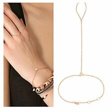 Suyi Crystal Simple Chain Bracelet Finger Ring Slave Bangle Hand Harness Heart