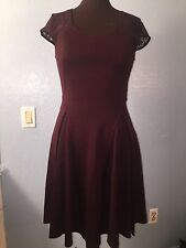 Anthropologie Deletta Interspersed Ponte Dress M plum lace Wool cap sleeves EUC