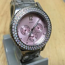 Guess Mens Rhinestone Analog Quartz Watch Hours~Day Date 24h Subdial~New Battery