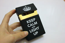 Silicone Cigarette Case plastic dispenser Keep Calm & Light Up Rubber 20 pack