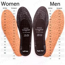 2 PAIRS LEATHER PADDED SHOE INSOLES Comfy Thick Cut To Size Mens/Ladies 3-12