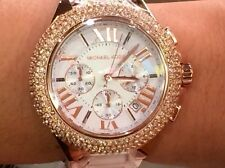 NWT MICHAEL KORS Rose Gold Camille Crystal Glitz Chronograph 43mm Watch MK5636