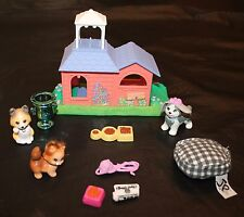 LPS Littlest Pet Shop House Dogs Cat Yarn Newspaper Bed Bowl Dish 1995 Vtg Lot