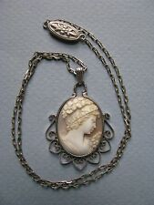 CAMEO NECKLACE  CARVED SHELL PORTRAIT EXQUISITE STERLING FILIGREE FRAME ANTIQUE