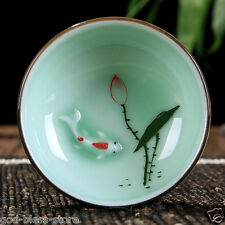 CUP Boutique celadon tea cup carp lotus design handmade craft porcelain cup tea