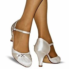 NEW Ladies Wedding Bridal Diamante Ivory Satin Low Heel Court Shoes Size -002/1